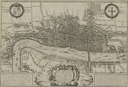 A plan of London Westmr and Southwark wth ye rivr Thames as they were survey'd and publish't by authority toward ye latter end of ye raign [sic] of Queen Elizabeth; or about ye year of our Lord 1600 which being compared wth ye new map of London